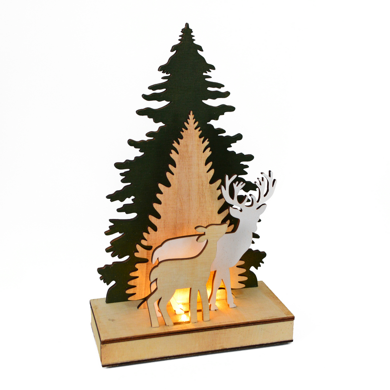 Import china products agent Christmas tree reindeer stag ornaments wood light up Decoration