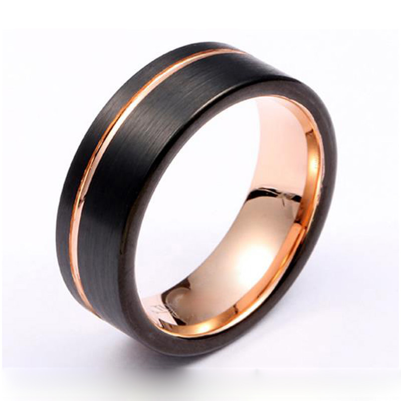 Mooie Alliance ringen voor mannen bijoux bague anillos mannen ring Zwart 18k Rose Vergulde Paar Wedding Band tungsten Ring