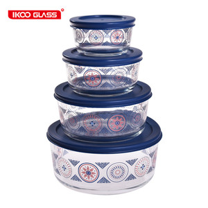 New design borosilicate round eco lunch box large glass bowls with lid plastic