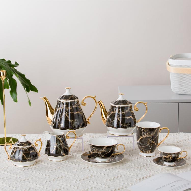 Unique black marble gold rim new bone coffee cup and saucer 15pcs ceramic tea set