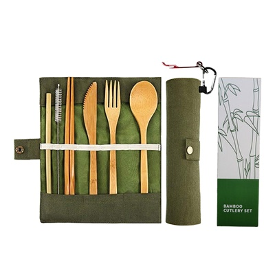 Amazon hot sale bamboo cutlery <strong>set</strong> with case and toothbrush bamboo utensils cutlery <strong>set</strong>