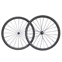 Chinese Wholesale 700C Carbon Fiber Powerway Hub Cycling 38mm/45mm/50mm Wheelset Clincher Road Bicycle Bike Tubeless Wheel Set