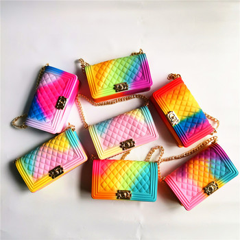 TS9021 Sample free wholesale cheapest price fashion rainbow colorful Jelly purse and women handbags PVC jelly bags for women