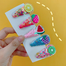 2019 NewBarlaycs Fashion Korean Cute Fruit Sequins Children's Resin Acrylic Hair Clips for Baby Girls Accessories