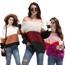 2019 Amazon Neue Patchwork <span class=keywords><strong>Pullover</strong></span> Herbst Winter Frauen Gestreiften <span class=keywords><strong>Pullover</strong></span> <span class=keywords><strong>Pullover</strong></span> Off Schulter Sexy <span class=keywords><strong>Pullover</strong></span> Frauen