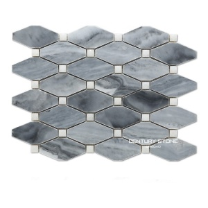 Long Octagon Milano Grey Marble Mosaic Wall Tiles Bathroom With Statuary White Square Dot