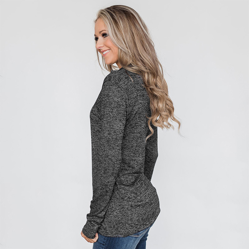 Solid Color Long Sleeve Zipper Women Pullover Top