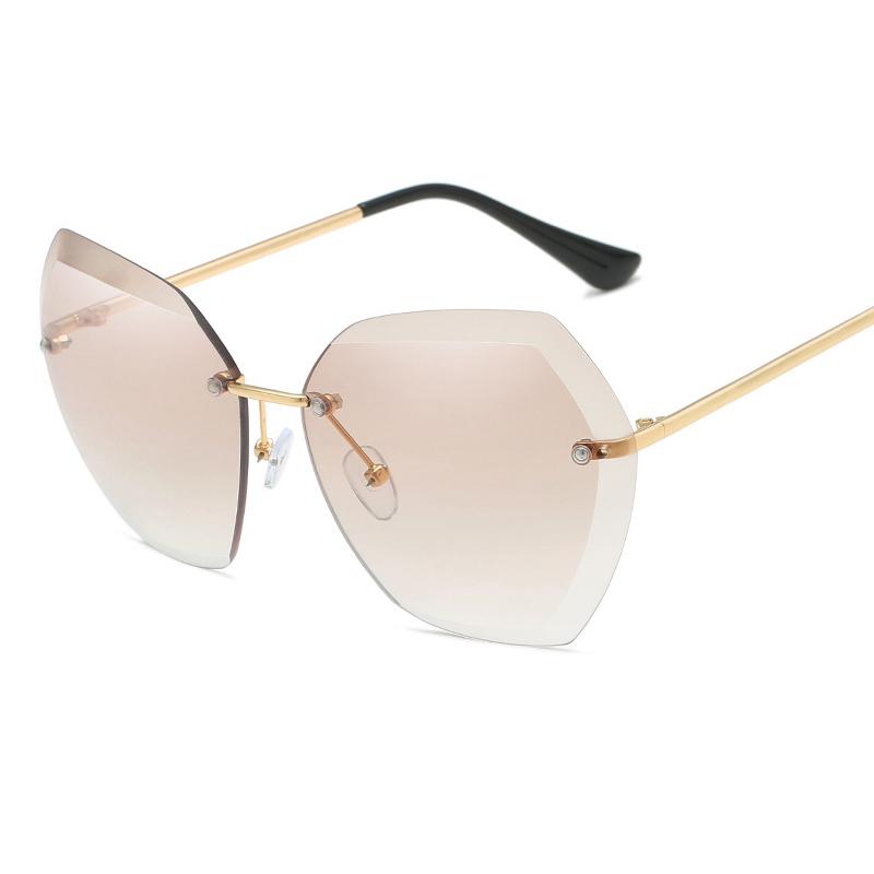 2020 UV400 Oversized Ocean Lens Shades Sun Glasses China Factory Wholesale Women Female Lady Rimless Sunglass