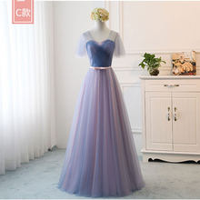 Сексуальные шифоновые длинные платья подружки невесты для свадебной вечеринки с V-образным вырезом Модные платья на одно плечо(Китай)