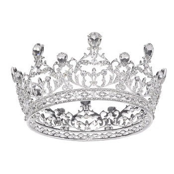 Round pageant lady's queen tiaras diamond crystal pageant crowns