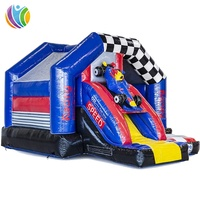 F1 cars inflatable castle slide combo, monster cars inflatable bouncy castle with slide, backyard used jumping castle slide