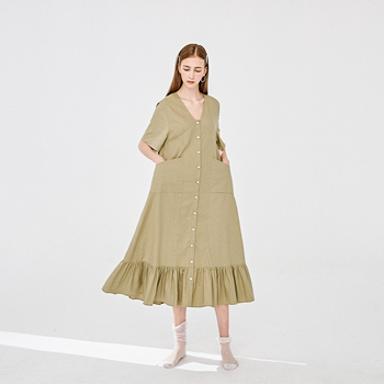 30 linen 70 cotton black / mustard green Hemp breasted V-Neck spring summer ladies casual dress for women clothing 2020