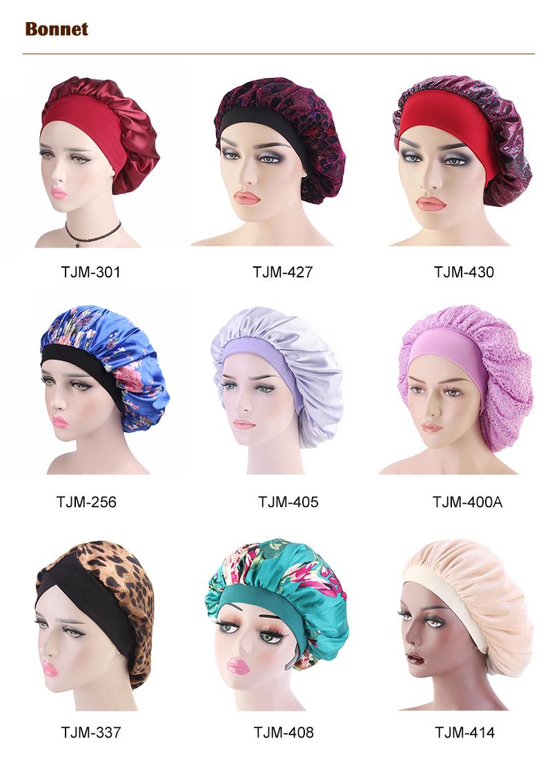 ผ้าฝ้ายซาตินซับ Sleep หมวกนอนหมวกหมวก Bonnet Chemo หมวก TJM-423