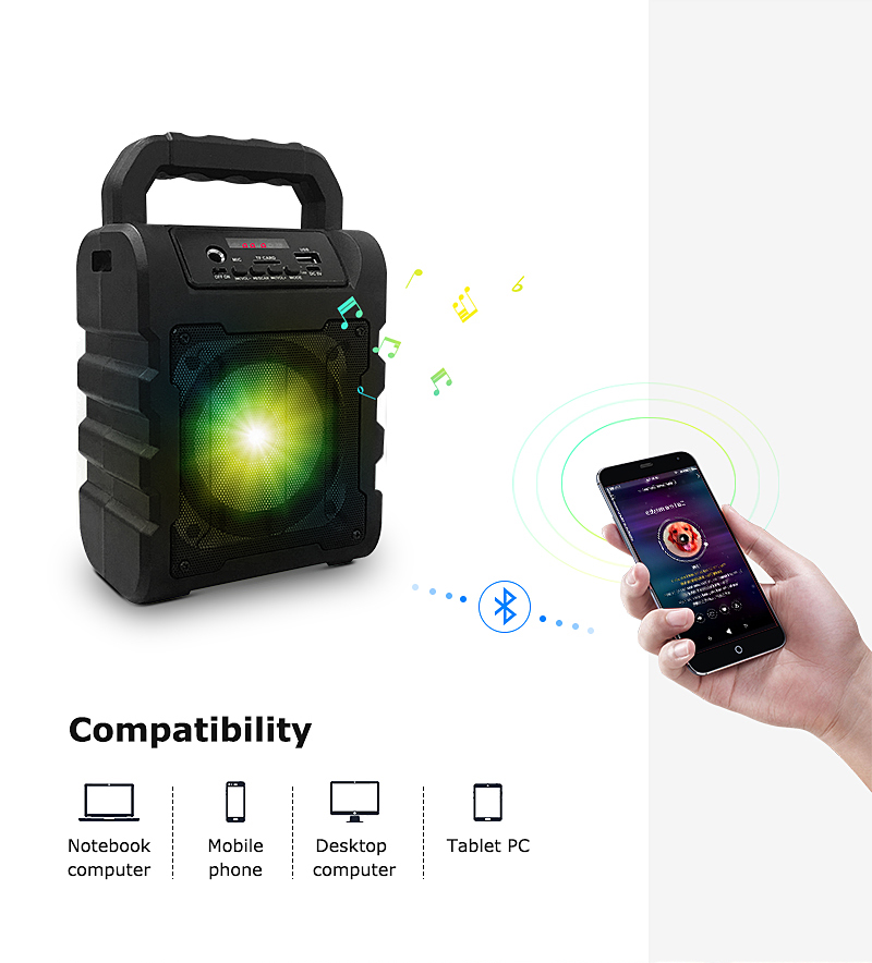 Oplaadbare Versterker Draadloze Microfoon Karaoke 10W Bluetooth bluetooth Speaker Amplified Sound Box Met Usb
