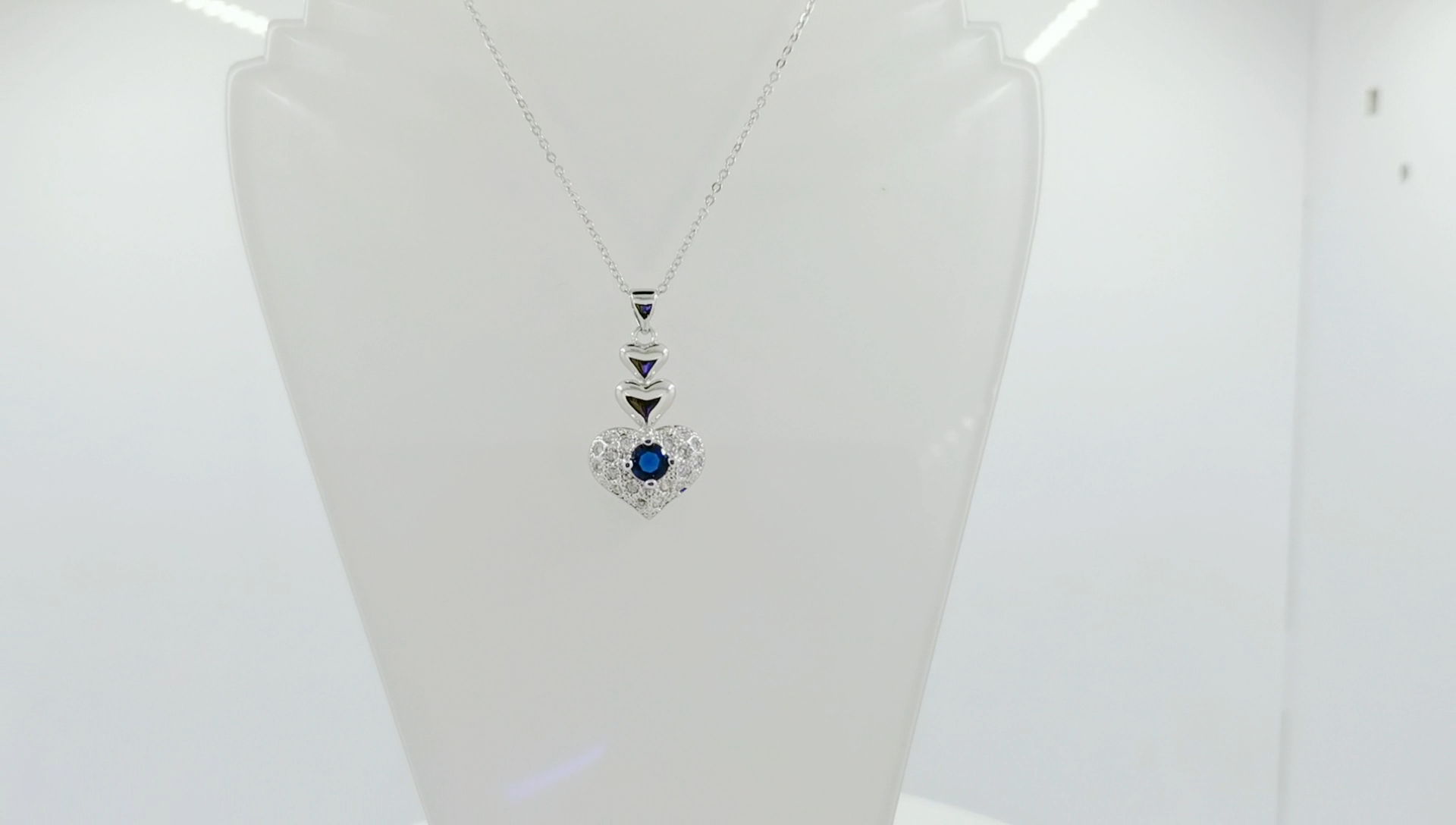 Luxury Personalized Healing Crystal Silver Heart Pendant Cubic Zirconia Silver Jewelry 925 Sterling Necklace