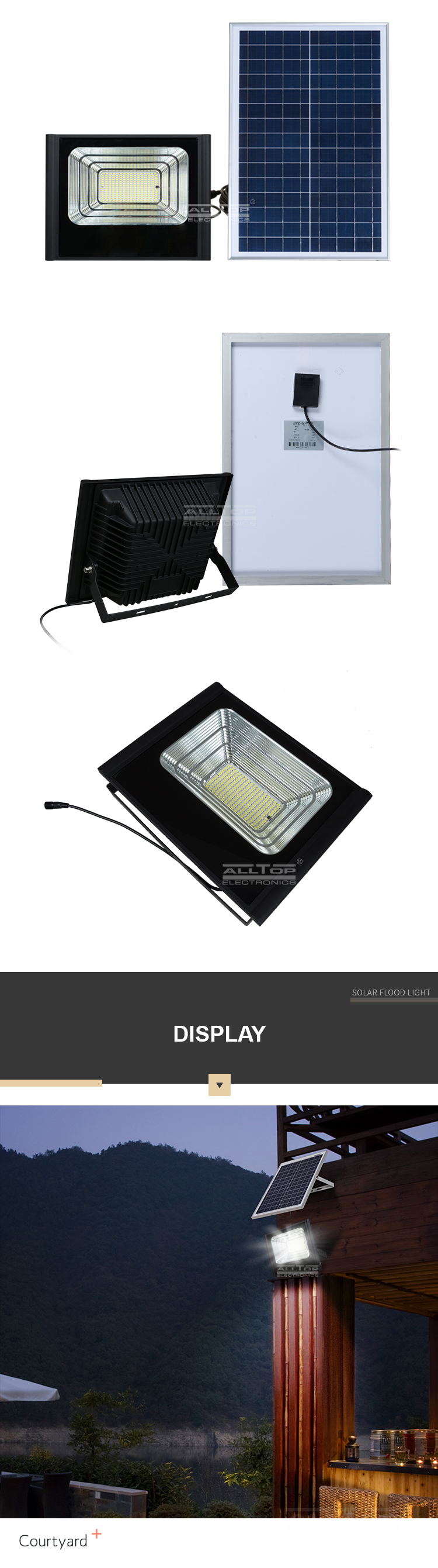 ALLTOP Most powerful outdoor waterproof IP67 50w 100w 150w 200w solar led floodlight