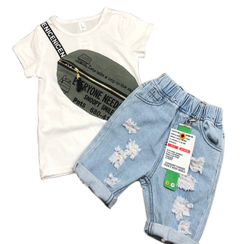 2019 trending products 3d printed shirts short pants jeans kids clothing wholesale
