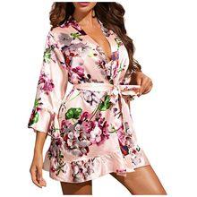 Женская пижама, пикантная сорочка, шелковые атласные халаты, женская пижама, женские ночные рубашки, лето #3(Китай)