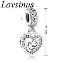 Бусины из стерлингового серебра 925 Love Mom/Mother коллекция подвески Шарм Подходит оригинальный Pandora браслет ожерелье для подарка mather(Китай)