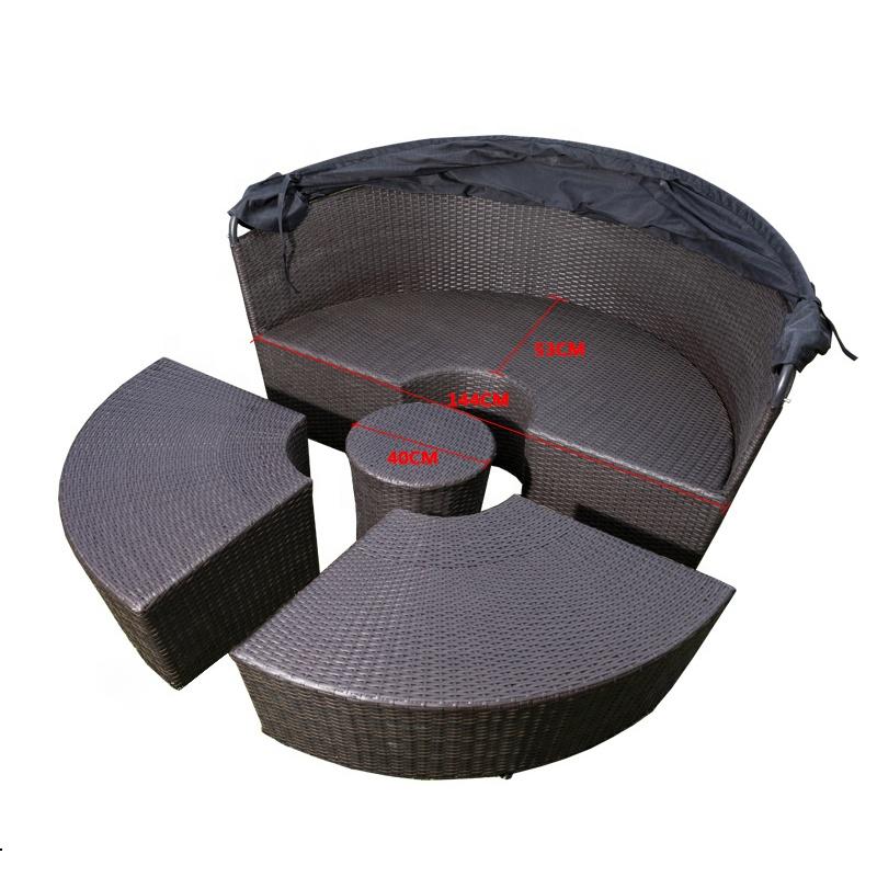 2020 New design Garden furniture Outdoor furniture round rattan woven waterproof sofa rattan sofa