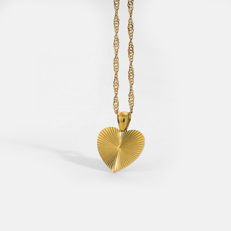 Simple Retro Inspired Eternal Love Heart Choker Neckalce For Women Grils 18K Gold IP Plating Stainless Steel Amore Necklace
