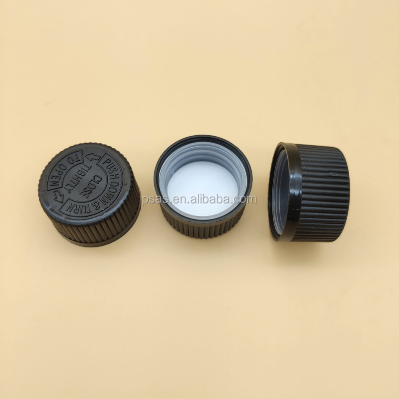 Free Samples 28mm black child proof screw cap/Child safety cap/CRC closures