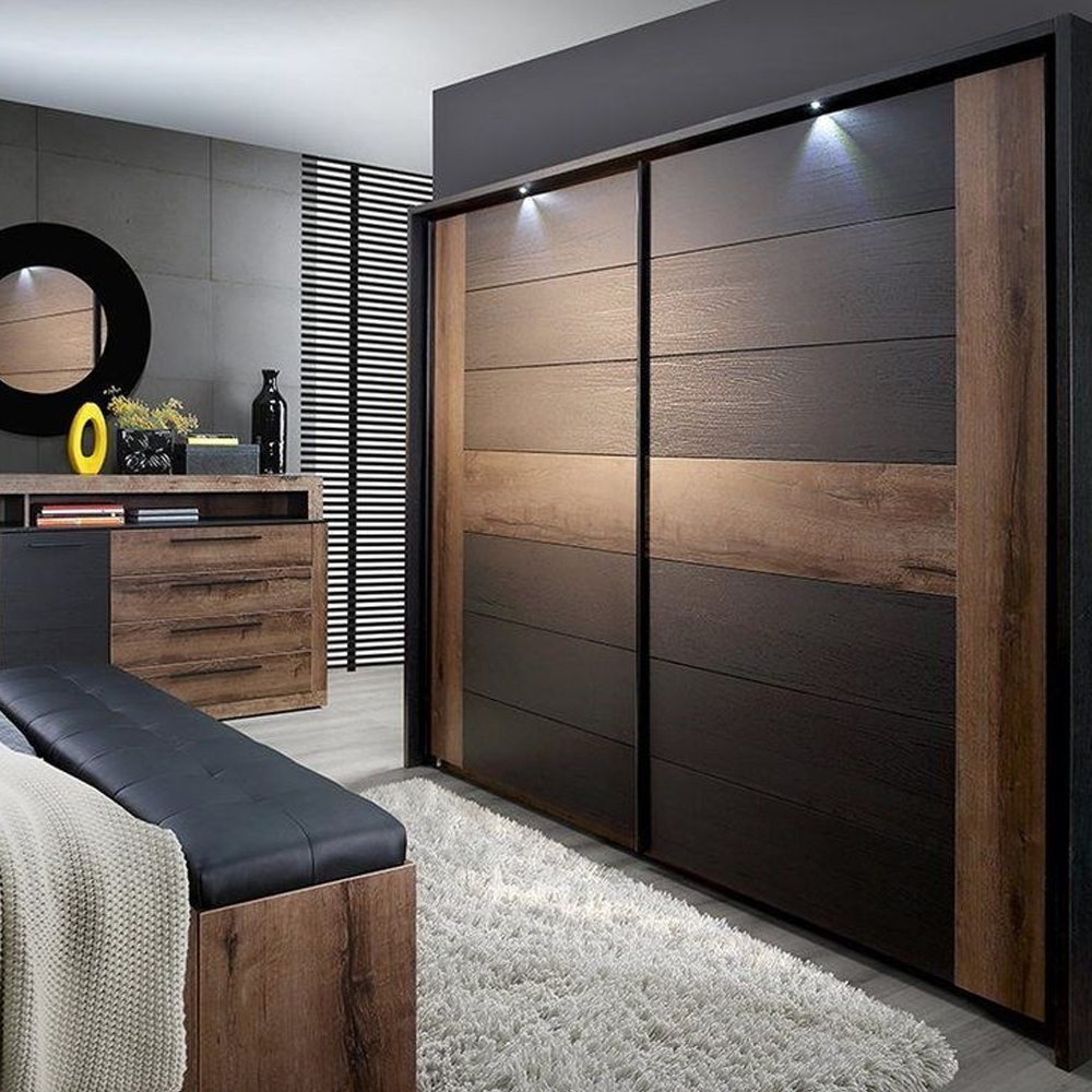 Adornus Double Color Bedroom Furniture Wardrobe Design