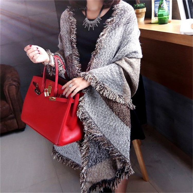 Enlarge Thickening Jacquard Weave Keep Warm Shawl Autumn Winter Fashion Loop Yarn Bevel Angle Burrs Colour Mosaic Block  Scarf