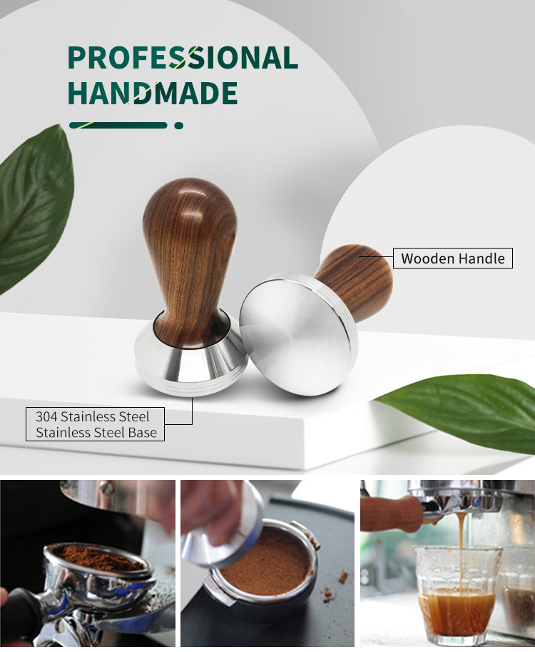 Coffee Tools 304 Stainless Steel Base Wood Handle Coffee Powder Espresso Tamper 51MM
