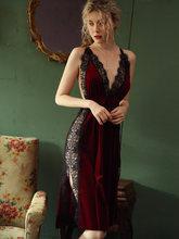 Сексуальная ночная рубашка, женская одежда для сна, осень/зима, золото, бархат, красота, подтяжки, платье, кружево, разрез сбоку, искушение, се...(Китай)