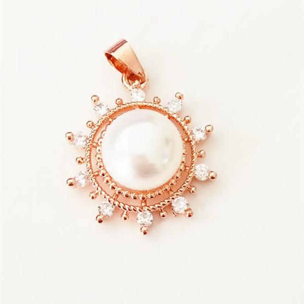 14K Or Blanc Perle Pendentif montage Nouveau Charme