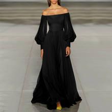 2020 модное Трендовое женское вечернее длинное платье макси, вечернее бальное платье с длинным рукавом-фонариком и вырезом лодочкой, новое св...(Китай)