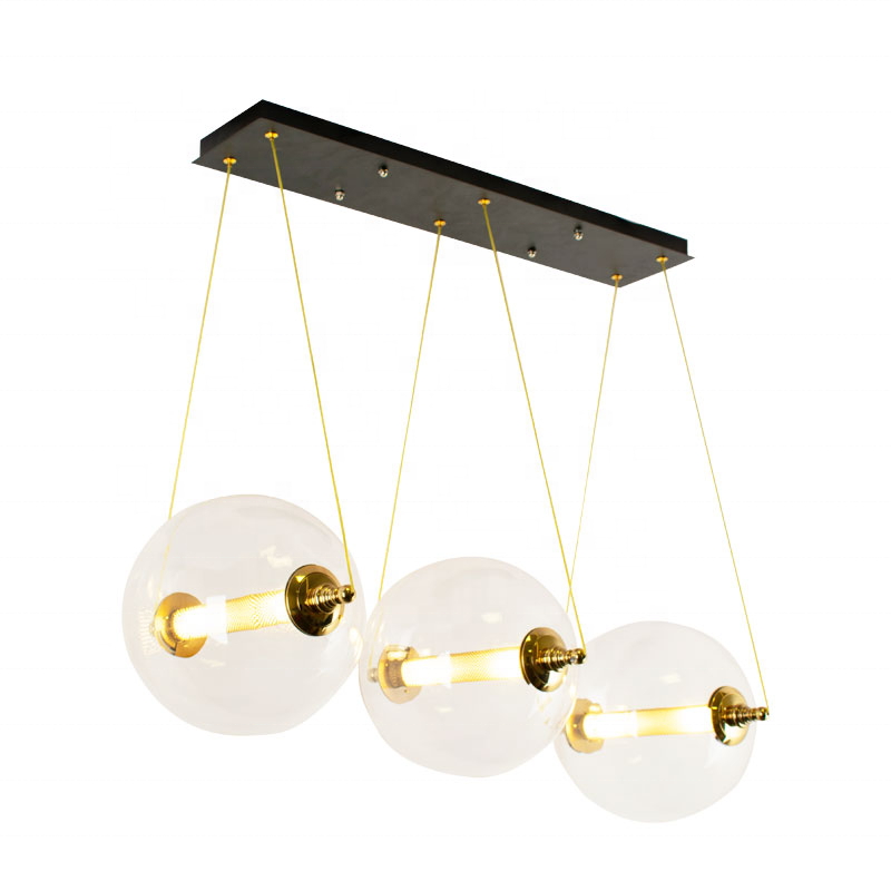 fashion design simple round glass ball gold hanging chandelier foyer pendant light