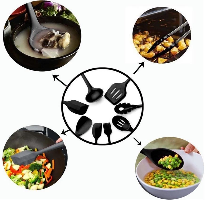 Amazon Heißer Verkauf Food Grade Silikon Geschirr, Küche Ware Set, Utensilien