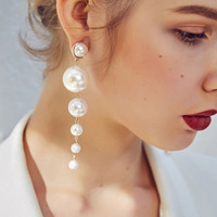 Hot Design Multiple Pearls Long Dangle Earrings Jewelry Vintage Gorgeous Wedding Chandelier Earrings for Women