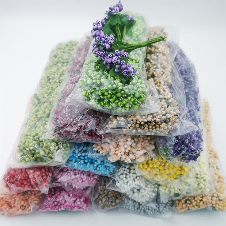 Yapay çiçekler Stamen düğün hediyesi şeker kutusu dekor boncuk çiçek Diy noel dekorasyon