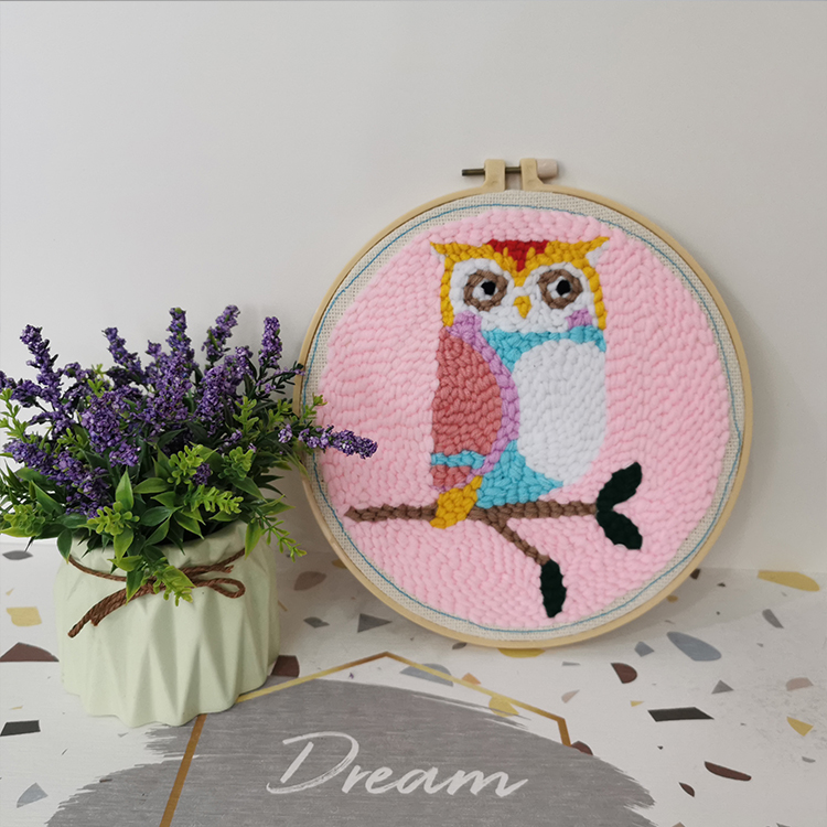 Wholesales high quality decoration round frame DIY handcraft cartoon owl cross stitch