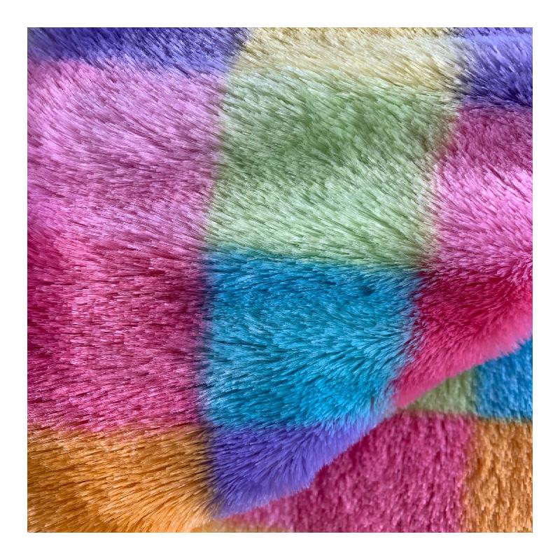 rainbow plush fabric polyester faux fur