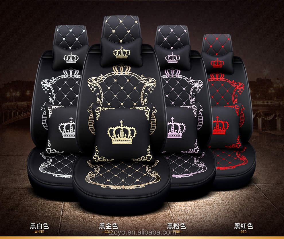 2020 new design crown looking universal fit leather car seat cover car accessory car seat protection