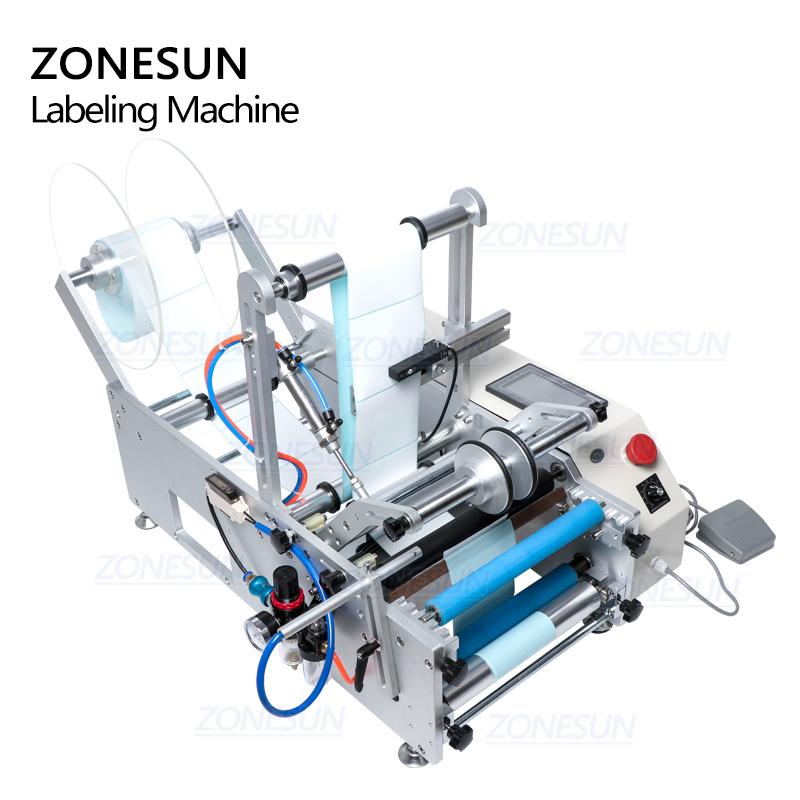 ZONESUN TB-190 Wine Double Side Sticker Round Water Semi Automatic Digital Bottle Labeling Machine For Plastic Bottle
