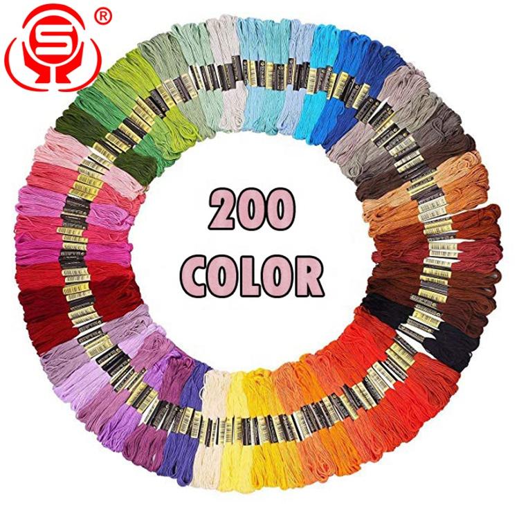 200PCS Cross Stitch Màu Đa Polyester Bông Thêu Chỉ Tơ Nha Khoa/Hộ Gia Đình Đầy Màu Sắc Polyester Thêu Chủ Đề Bán Buôn