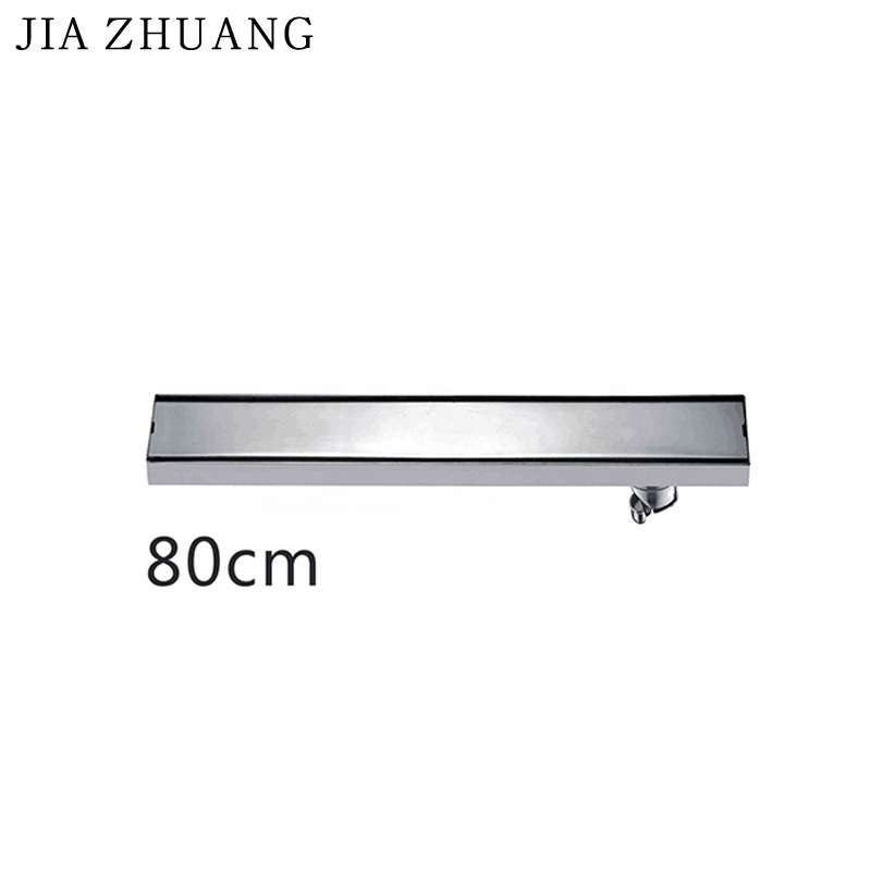 Rectangular Floor Roof <strong>Drain</strong> 80CM Sus304 Stainless Steel Shower Scupper Invisible Side Drainage Port Shower <strong>Drain</strong> Hair System