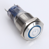 professional manufacture for 30years ONPOW (CE, ROHS) LAS2GQ 16mm 1NO1NC illuminated power symbol metal pushbutton switch