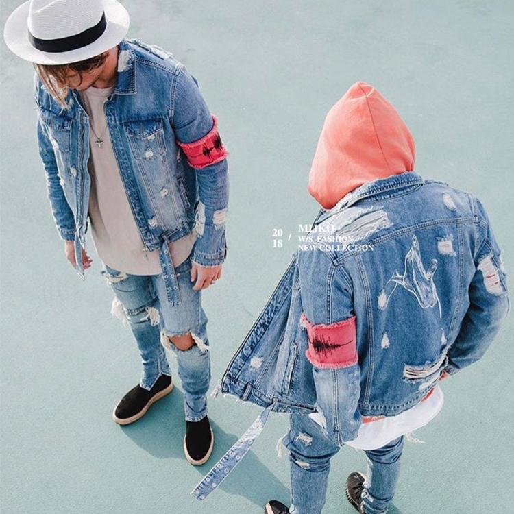 Commercio all'ingrosso Giacca di Jeans Con La Cinghia Used Giacca di Jeans Per Gli Uomini