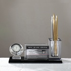 MH-B026 Office Crystal Three In One K9 Crystal Electronic Clock Pen Holder with office business gifts
