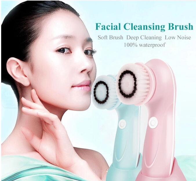 3 in 1 Electric Rotating Spin Facial Cleanser Brush Face Cleansing Brush with Base Holder,facial cleansing  brush