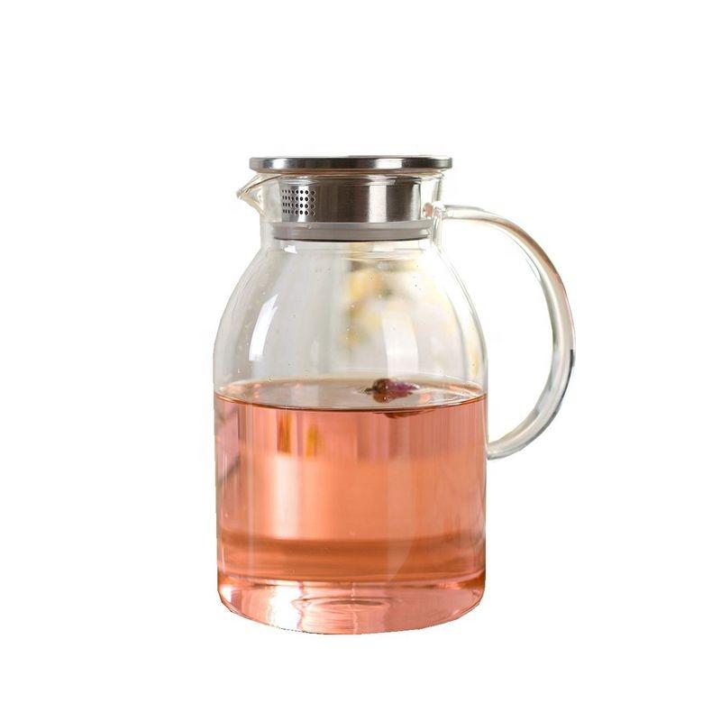 내열성 붕 규산염 음료 주전자 얼음 차 주전자 커피 유리 투수
