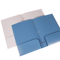 High quality hardcover hot stamping plastic pp 3 hole 2 pockets file folder