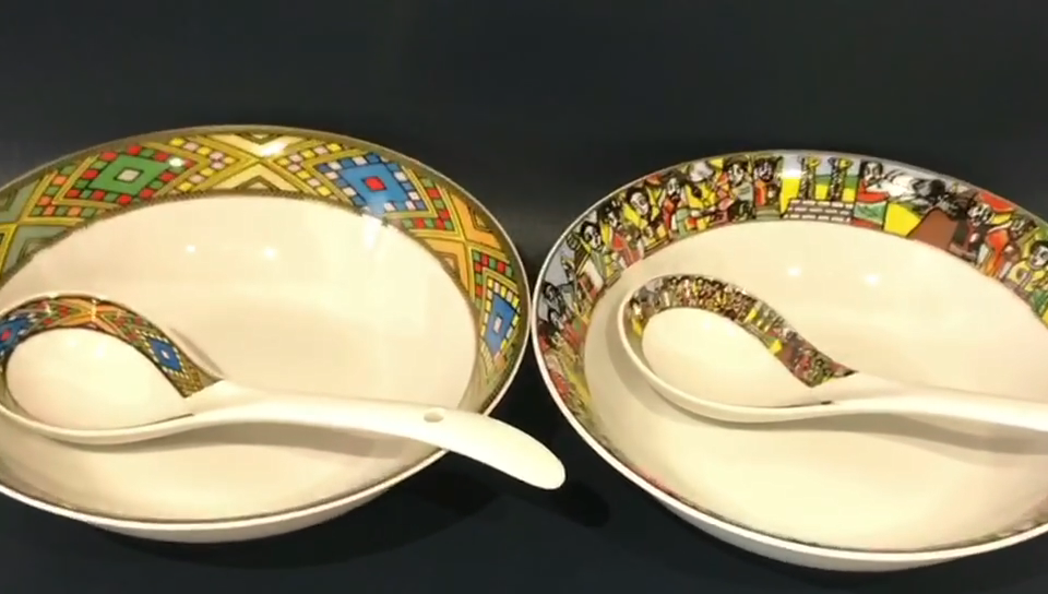 YDY porcelain classic ethiopian traditional art design 9inch salad ceramic bowls with big spoon