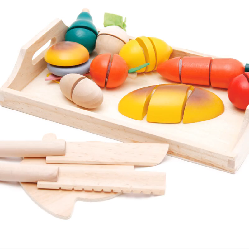 Fruit bread and vegetables cut through each toy wooden kitchen children's educational toy simulation set wooden kitchen toy